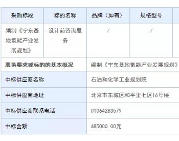 中标丨石油和化学工业规划院中标宁夏宁东基地<em>氢能</em>产业发展规划编制项目