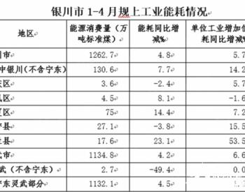 2020年1-4月宁夏省银川市(扣除宁东)规上工业<em>能耗</em>增速加快 节能形势趋紧