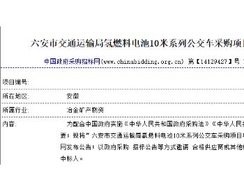 总价1904万,安徽六安再度采购8辆10米氢燃料电池<em>汽车</em>