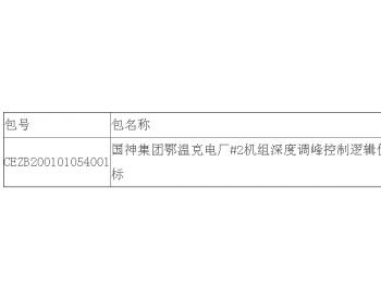 中标|国神集团内蒙古鄂温克电厂#2机组深度<em>调峰</em>控制逻辑优化公开招标中标结果公告
