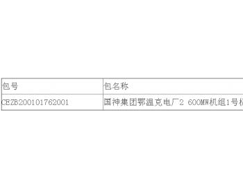 中标|<em>国神</em>集团内蒙古鄂温克电厂2*600MW机组1号机组A级检修中标结果公告