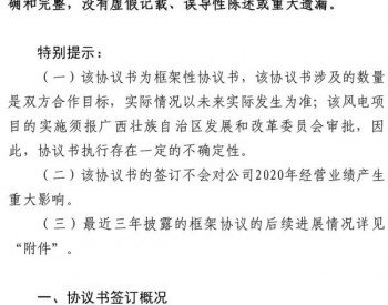 20亿元!粤水电与<em>广西</em>平南县人民政府签订300MW风电项目框架协议