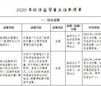 国家能源局印发2020年能源监管重点任务清单