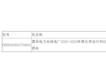 中标|国华电力浙江余姚电厂2020-2023年度化学运行和化验委托<em>项目</em>公开招标中标结果公告