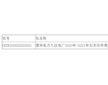 中标|<em>国华电力</em>江西九江电厂2020年-2021年石灰石年度采购公开招标中标结果公告