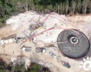 河南崤山岭项目复工后首台风机基础 顺利浇筑完成