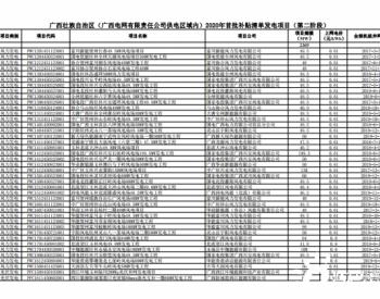 广西壮族自治区(广西电网有限责任公司供电区域内)首批可再生能源发电项目补贴清单(第二阶段)