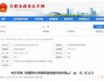 安徽合肥:建筑<em>节能改造</em>可获补贴 单个<em>项目</em>奖补最高上限300万元