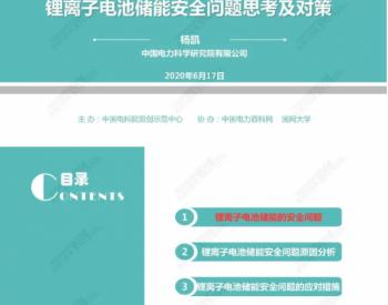 中国电科院杨凯博士:锂离子电池储能<em>安全</em>问题思考及对策