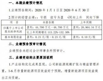 <em>吉电股份</em>业绩预告:2020上半年净利同比增长113%-132%