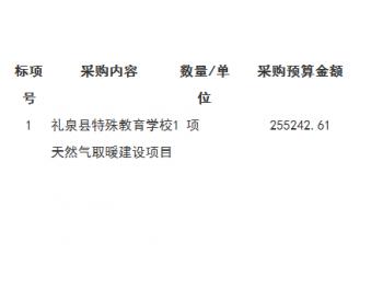 <em>中标</em>|关于陕西省咸阳市礼泉县特殊教育学校<em>天然气</em>取暖建设<em>项目</em>的采购结果公告