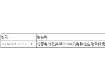 中标丨优利康达中标龙源电力歌美飒850kW风电机组应急备件集采项目公开招标