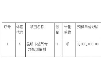 招标 | 云南昆明市住房和城乡建设局昆明市燃气专项规划编制公开招标公告(二次)