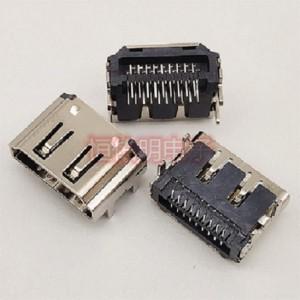 HDMI 19P反向母座 90度双排插板DIP 短体四脚插板