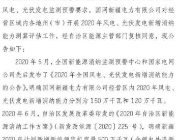 800MW!国网新疆发布各地州(市)2020年<em>风电</em>消纳(第一批)