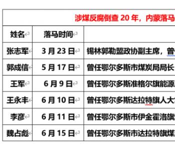 煤炭反腐倒查20年,4个月内蒙古6煤炭局长落马!