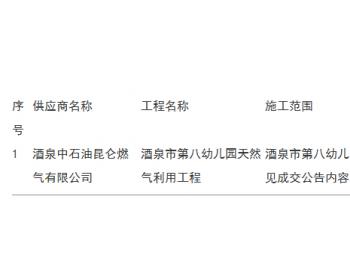 中标|甘肃酒泉市第八幼儿园天然气利用工程<em>采购</em>项目成交公告