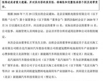 北汽福田联合*ST京城等10家企业建<em>氢能商用车</em>创新中心
