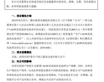 横店东磁:年产1.6GW高效晶<em>硅电池</em>项目的7条生产线建成投产