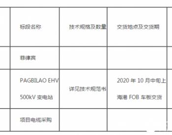 <em>招标</em> 500kV变电站项目电缆采购<em>招标</em>公告