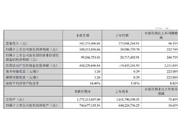 <em>新强联</em>2020年上半年净利1亿元,同比增长223.74%