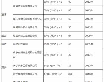 山东省淘汰粗钢产能情况公示