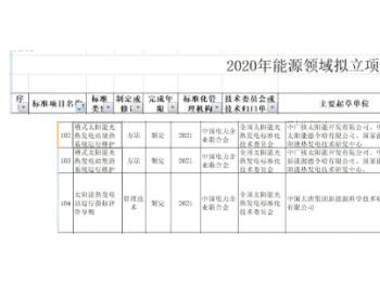 三项太阳能<em>光热</em>发电标准列入国家能源局2020年拟立项行业标准计划<em>项目</em>