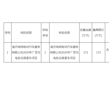 招标|<em>南方电网</em>电动汽车服务有限公司2020年广西充电桩运维服务项目招标公告