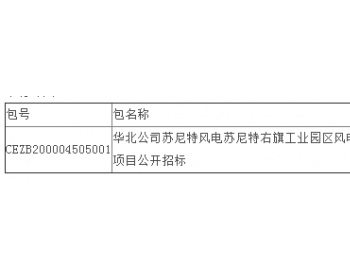 中标丨内蒙古苏尼特风电苏尼特右旗工业园区风电清洁能源供热EPC项目公开招标中标结果公告