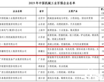 特变电工荣登中国机械工业百强第六名!