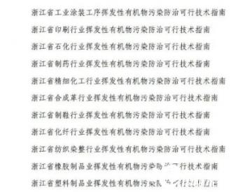 浙江省发布工业涂装工序等11份重点行业挥发性有机物污染防治可行技术指南