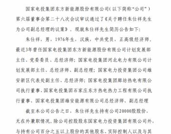 人事 <em>东方能源</em>关于聘任公司副总经理的公告