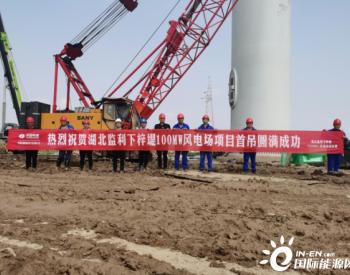 湖北监利下梓堤100MW风电场项目首台风机顺利完成吊装
