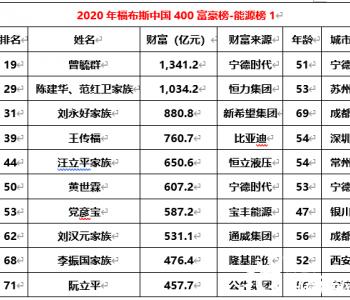2020福布斯中国400富豪榜揭晓:高纪凡、曹仁贤、朱共山、刘汉元、<em>李振国</em>等17位光伏...
