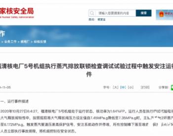 10月27日关于福清<em>核电厂</em>5号机组执行蒸汽排放联锁检查调试试验过程中触发安注运行事件