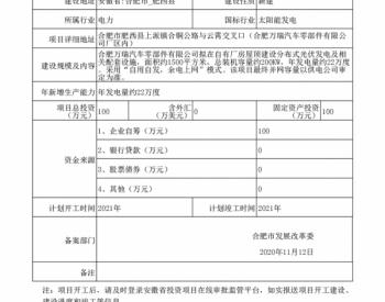 安徽:合肥万瑞汽车零部件有限公司肥西万瑞分布式