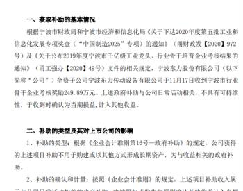 宁波东力:全资子公司收到宁波市行业骨干企业考核奖励249.89万元