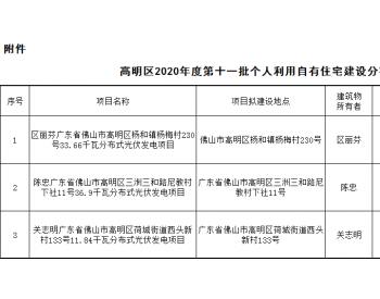 82.4千瓦!广东省佛山市高明区发布2020年度第十一批个人利用自有住宅建设分布式光伏发电项目备案的通告