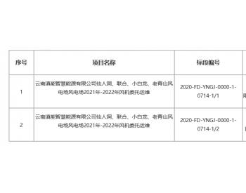 招标|云南滇能智慧能源有限公司仙人洞、联合、小白龙、老青山风电场风电场2021年-2022...