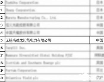 """<em>无锡尚德</em>荣登""""全球新能源企业500强""""榜单"""