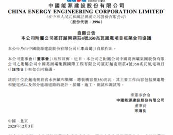中國能源建設附屬公司中國葛洲壩簽訂越南朔莊4號350兆瓦風電項目框架合同協議!