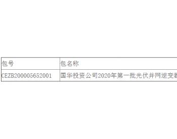 中标 | 国华投资公司2020年第一批光伏<em>并网逆变器</em>设备集中采购招标文件中标结果公告