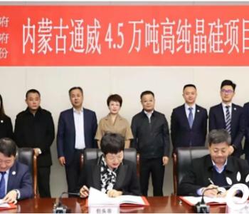 扩产再发力!内蒙古通威4.5万吨高纯晶硅项目签约仪式成功举行