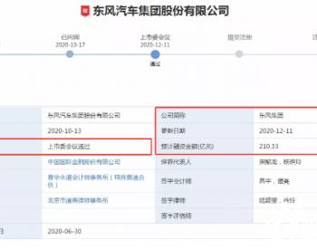 IPO过会!募资刷新记录!东风集团112亿下注新能源