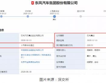 IPO过会!募资刷新记录!<em>东风集团</em>112亿投向新能源领域