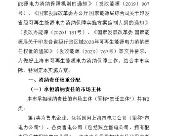 关于公开征求《上海市可再生能源电力消纳保障实施方案(征求意见稿)》意见的通知