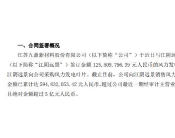<em>九鼎新材</em>与江阴远景签订金额1.26亿元风力发电叶片采购订单