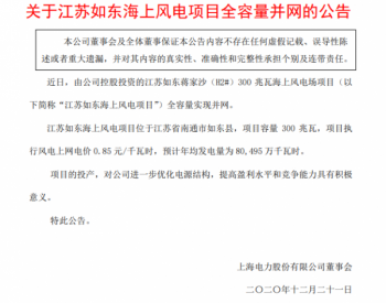 上海电力:江苏<em>如东海上风电</em>项目全容量并网