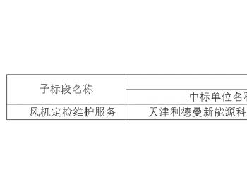 中标|华润电力华东大区威海、平度风电场<em>风机</em>定检维护服务(标段B)中标结果公告