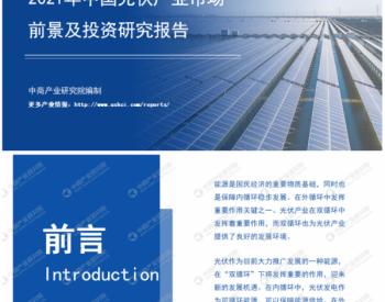 """2021年""""双循环""""中国光伏产业市场前景及投资研究报告"""